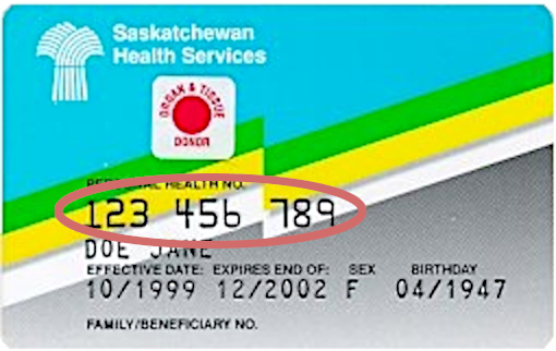 A Saskatchewan Health Card showing the Health Card number in the centre as the 3 groups of 3 numbers.